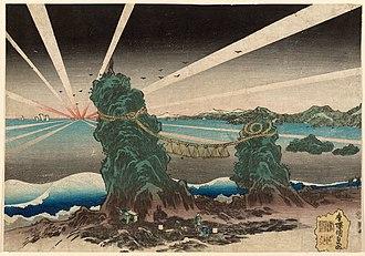 Kunisada - Dawn at Futamigaura, seascape print by Kunisada, c. 1830