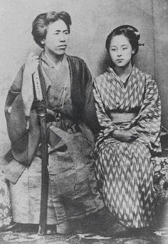 Kusumoto Ine - Kusumoto Takako (right) and her husband Mise Shūzō (left)