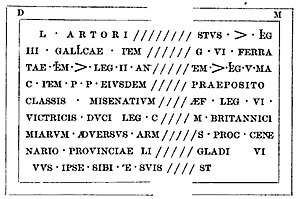 "Lucius Artorius Castus - Drawing of the Lucius Artorius Castus inscription from Podstrana, as read (with minor errors) by professor Frane Bulić in the late 1880s (source: T. G. Jackson, ""Dalmatia, the Quarnero and Istria"", Oxford, 1887, pp. 167)"