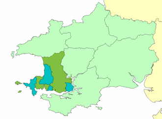 Roose Hundred - The hundred and cantref of Roose (Rhos) as part of ancient Dyfed.  The Lordship of Haverfordwest is shown in green, and the Lordship of Walwyn's Castle in blue