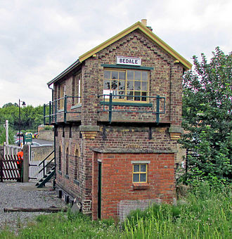 Bedale railway station - Bedale signal box in service during 2014
