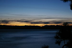 Nevada State Route 28 - Lake Tahoe at sunset as seen from SR 28