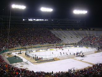 Lambeau Field hosting its first hockey game. Lambeau Field (Wisconsin Badgers vs Ohio State Buckeyes, February 2006).jpg
