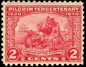 Pilgrim Tercentenary half dollar - Two-cent stamp for the tercentenary depicting the landing of the Pilgrims