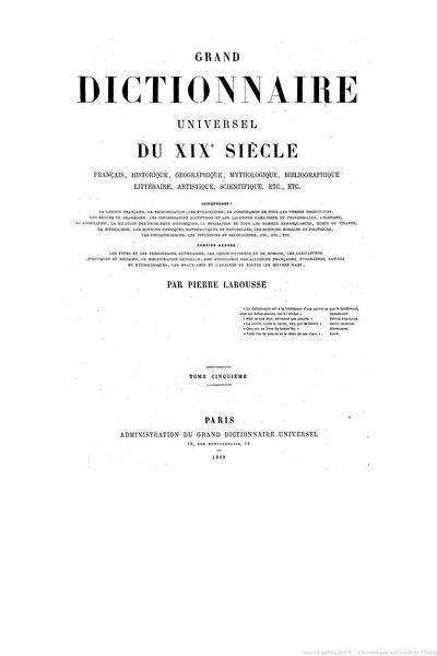 File:Larousse - Grand dictionnaire universel du XIXe siècle - Tome 5, part. 2, Cour-Cz.djvu