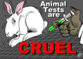 Latuff cartoon about cruelty in animal testing.png