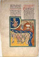 Leaf from a Beatus Manuscript- the Sixth Angel Delivers the Four Angels that had been Bound at the River Euphrates; an Altar Appears in the Heavens as the Enthroned Christ Raises His Hand in Blessing MET DT6708.jpg