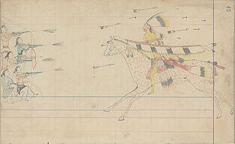 Arapaho - Ledger drawing of a mounted Arapaho warrior fighting a group of Navajo or Pueblo warriors, c. 1880