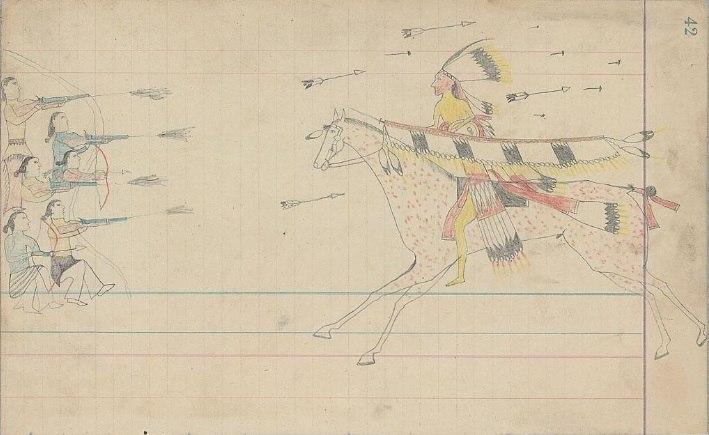 Ledger Drawing - Arapaho warrior fighting Navajo or Puebloan warriors