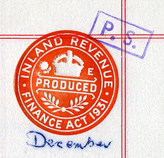 Finance Act - Embossed stamp certifying that a conveyance has been produced in accordance with the Finance Act 1931