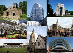 時計回りに左上から、Jewry Wall, National Space Centre, Leicester War Memorial, Central Leicester, Curve theatre, Leicester Cathedral及びGuildhall, Welford Road Stadium並びにLeicester Market.