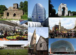Leicester landmarks: (clockwise from top-left) Jewry Wall, National Space Centre, Arch of Remembrance, Central Leicester, Curve theatre, Leicester Cathedral and Guildhall, Welford Road Stadium, Leicester Market