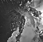 Lemon Creek Glacier, terminus of mountain glaciers, firn line and glacial remnants, August 24, 1963 (GLACIERS 6375).jpg