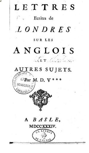 Letters on the English - Title page from 1734 edition of Letters on the English