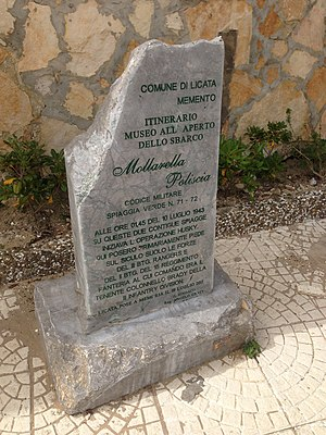 Licata - Italian memorial at Licata for the Allied invasion of Sicily during Operation Husky, July 10, 1943.
