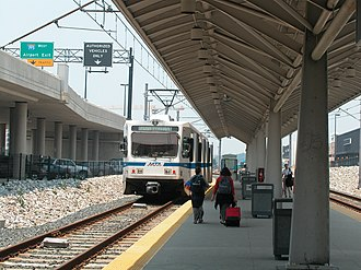 BWI Marshall Airport station - Light rail vehicle at the station in 2003