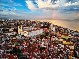 Tourism in Lisbon - Aerial view of Alfama
