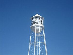 Littlefield, Texas - Littlefield water tower advertises home-town celebrity Waylon Jennings.
