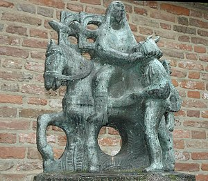 Ludger - Ludger heals Frisian singer Bernlef from his blindness (statue at Lochem, Gelderland, The Netherlands).