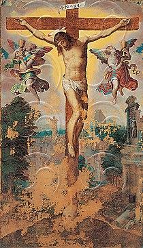 Livio Agresti Crucifixión con dos ángeles Pinacoteca de Forli.jpg