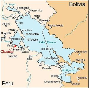 Lupaca - Location of Chucuito, the capital of the Inca province of the Lupacas, and Kutimpu (Cutimbo), pre-Inca capital.