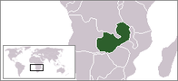A map showing the location of Zambia