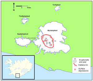 Katla (volcano) - Locations of caldera rim and previous eruptions