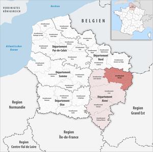 Arrondissement of Vervins - Image: Locator map of Arrondissement Vervins