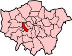 Hammersmith an Fulham shown athin Greater Lunnon