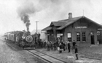 Longford, Kansas - Atchison, Topeka and Santa Fe Railway depot in Longford, circa 1887-1897