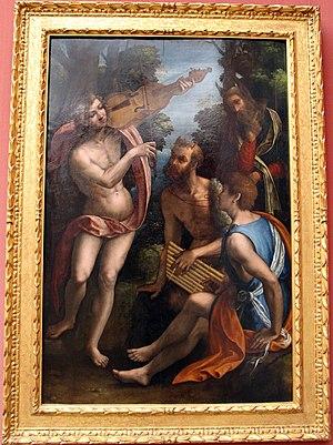 Lorenzo Leonbruno - Lorenzo Leonbruno. c.1512-1514. Il Giudizio di Mida (The Judgement of Midas). Now Gemäldegalerie, Berlin.
