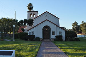 Los Angeles National Cemetery - Bob Hope Veterans Chapel, with a plaque honoring Hope shown on the wall by the chapel's entrance