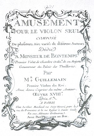 Louis-Gabriel Guillemain - Front cover of Guillemain's Op. 18, the last known publication by him