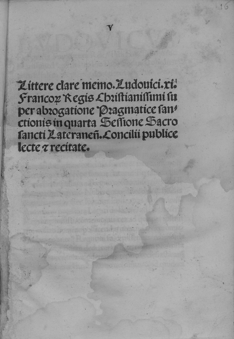 Louis - Litterae super abrogatione pragmatice sanctionis in quarta sessione sacro sancti Lateranensis concilii publice lecte et recitate, 1512 - 4592398