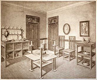 Louise Brigham - A room of furniture built according to Brigham's designs, illustrated for The Ladies' Home Journal, 1910.