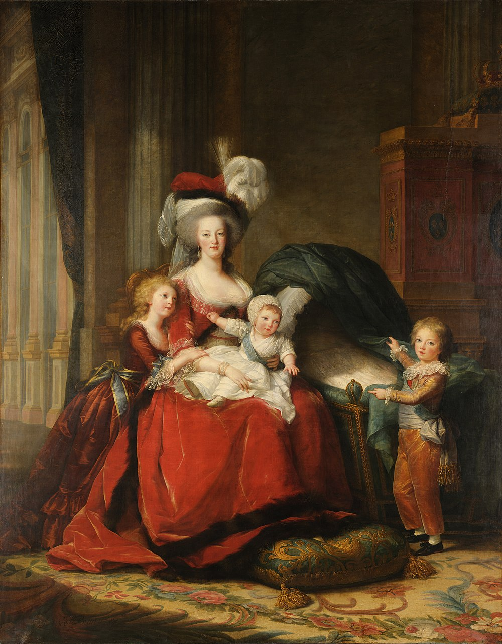 Queen Marie Antoinette with her children, 1787 at Versailles; (L-R); Marie Therese Charlotte, known as Madame Royale at court; the Queen with the Duke of Normandy on her lap; the Dauphin is on the right pointing into an empty cradle; the cradle used to show Madame Sophie; she died later in the year and had to be painted out; by Elisabeth-Louise Vigee-Le Brun; the Fleur-de-lis of France and the Bourbons can be seen behind on the cabinet Louise Elisabeth Vigee-Lebrun - Marie-Antoinette de Lorraine-Habsbourg, reine de France et ses enfants - Google Art Project.jpg