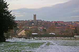 Ludford, Shropshire - The view north across the Teme from the eastern part of Ludford village, with the skyline of Ludlow dominated by St Laurence's Church.