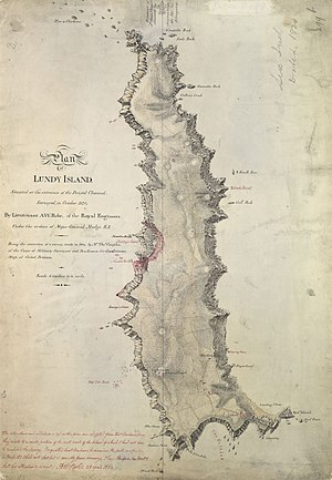 Lundy - Map by Henry Mangles Denham (1832)