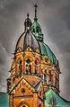 München, evangelisch-lutherische Pfarrkirche Skt Lukas, rechter Kirchturm und Vierungskuppel -- Munich, Evangelical Lutheran parish church Skt Luke right steeple and cupola (14095079888).jpg