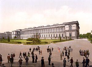 Alte Pinakothek - Alte Pinakothek, hand-painted photograph, c. 1890