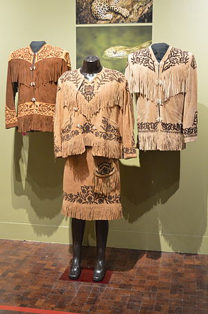 Huapango - Fringed leather jackets called cueras and outfit for dancing to huapangos and sones from Tamaulipas displayed at the Museo de Arte Popular in Mexico City