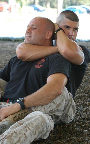 Rear naked choke - Marines practice rear naked chokes at Defense Visual Information Center