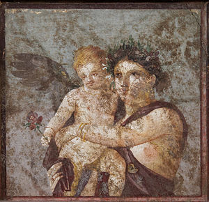 Rosalia (festival) - A wreathed maenad (attendant of Dionysus) holds Cupid as he extends a rose, in a wall painting from the House of Lucius Caecilius Iucundus, Pompeii