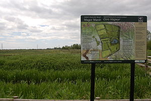 Gwent Wildlife Trust - View westwards across Magor Marsh Nature Reserve, with Gwent Wildlife Trust information board