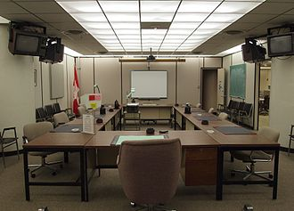 CFS Carp - The main conference room inside the Diefenbunker to provide continuity of Canada's government activities that were legal and constitutional in case of a nuclear attack.