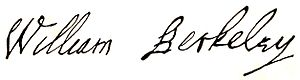 William Berkeley (governor) - Image: Makers of Virginia History Gov William Berkeley signature