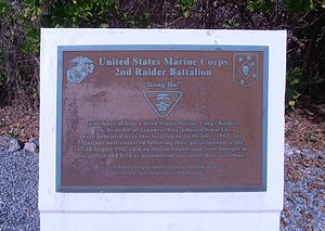 Makin Island raid - This is a plaque commemorating the Makin Island Raid in 1942. This plaque is located on the island of Kwajalein.