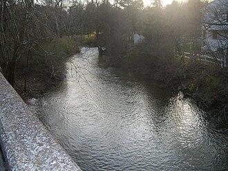Manada Creek - View of the creek from the Jonestown Road Bridge at Manada Hill, Pennsylvania.