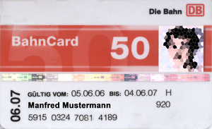 BahnCard - An example of the BahnCard 50