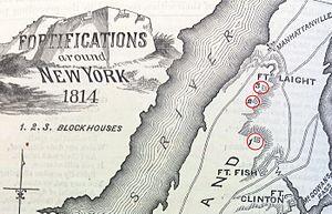 Blockhouse No. 1 (Central Park) - Image: Manhattanville forts showing Blockhouse 1